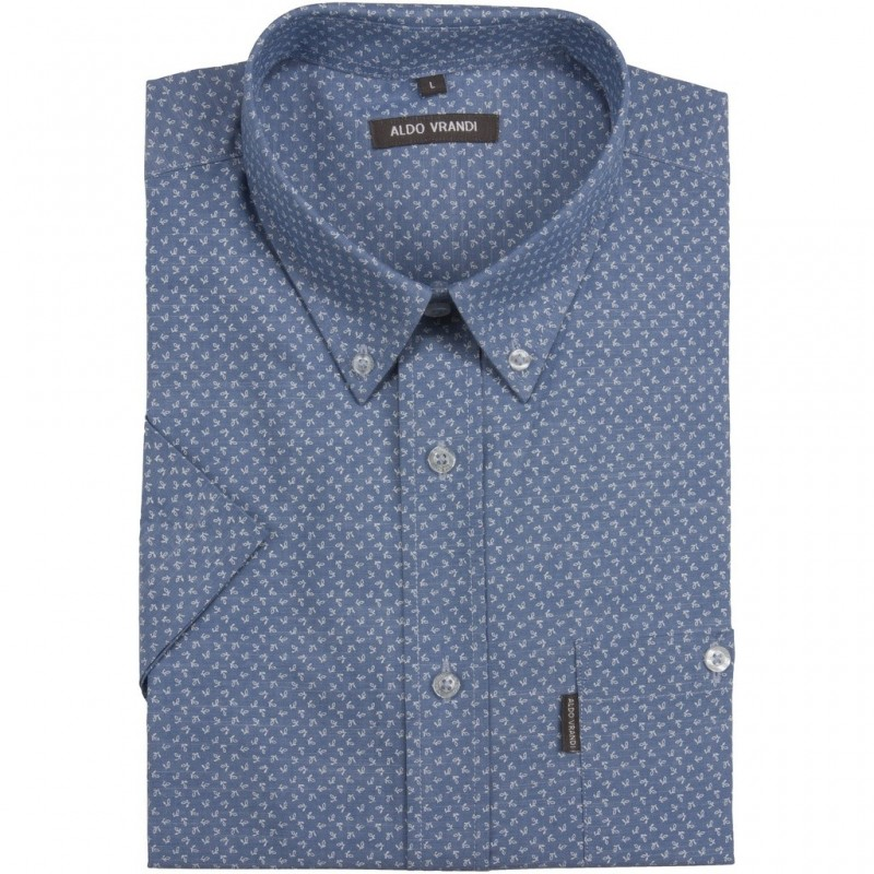 c6cf66d2a31b11 Niebieska koszula męska Aldo Vrandi z białym, drobnym nadrukiem - krótki  rękaw Rozmiar L