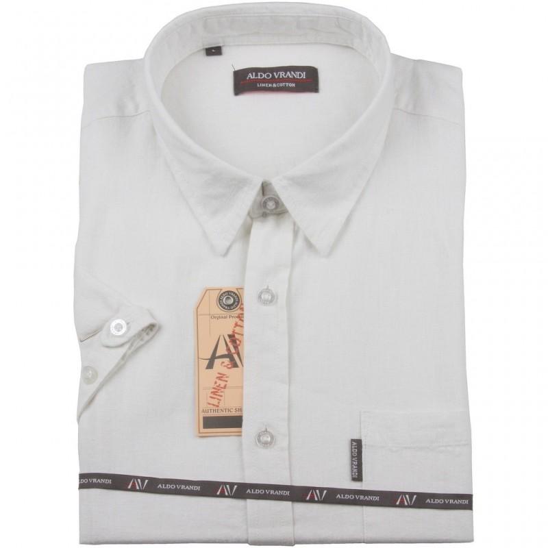 Koszula lniana Aldo Vrandi z krótkim rękawem Rozmiar L  hgtYl