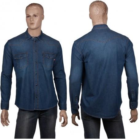 Męska koszula jeansowa Stanley z napami i stretchem