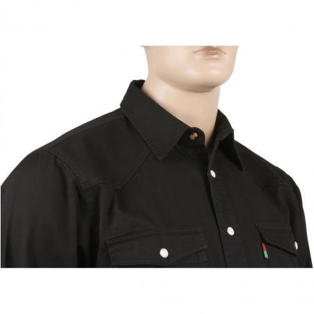Gruba koszula jeansowa w kolorze czarnym zapinana na napy