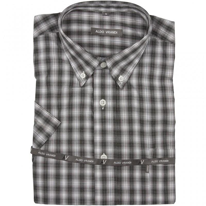 Koszula męska w ciemną drobną kratkę z krótkim rękawem Rozmiar L  KDuKf
