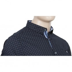 Granatowa koszula bawełniana z nadrukiem i krótkim rękawem  yKBZC