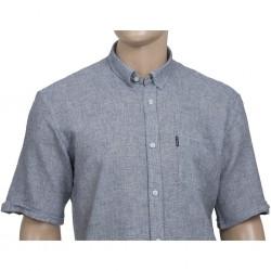Lniana koszula męska w kolorze szarym, wyraźny splot Mr  IW3Q1